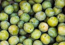 Pila de ciruelos verdes Foto de archivo libre de regalías