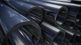 Pila de cobre de los tubos con la reflexión Imagenes de archivo
