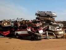 Pila de coches machacados Fotografía de archivo libre de regalías