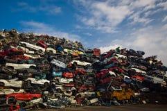 Pila de coches usados Imagen de archivo libre de regalías