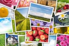 Pila de collage impreso de las imágenes Foto de archivo