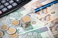 Pila de composición polaca del negocio de dinero Imágenes de archivo libres de regalías