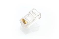 Pila de conectores de Ethernet RJ45 fotografía de archivo