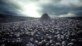 Pila de cráneos Concepto de la apocalipsis y del infierno Animación cinemática realista 4k almacen de metraje de vídeo