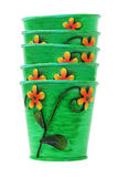 Pila de crisoles de flor coloridos Imágenes de archivo libres de regalías