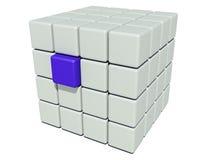Pila de cubos grises y de un azul único Imagen de archivo