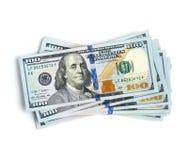 Pila de 100 cuentas de dólar Imágenes de archivo libres de regalías