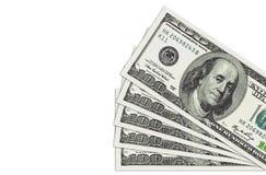 Pila de cuentas de dólares de ciento Imagen de archivo libre de regalías