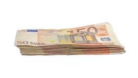 Pila de 50 cuentas euro Fotografía de archivo libre de regalías