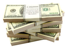 Pila de dólares Imagen de archivo libre de regalías