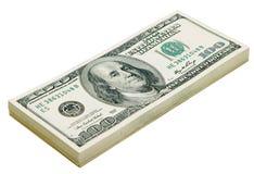Pila de dólares aislados Foto de archivo