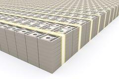Pila de 100 dólares de E.E.U.U. en el fondo blanco Imagen de archivo libre de regalías