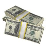 Pila de 100 dólares del billete de banco de la cuenta de los E.E.U.U. de billete de banco del dinero en un fondo blanco stock de ilustración