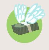 Pila de dinero con diseño del plano de alas Imágenes de archivo libres de regalías