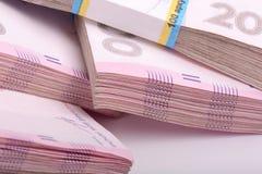 Pila de dinero ucraniano, hryvnia ucraniano Fotos de archivo