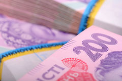 Pila de dinero ucraniano, hryvnia ucraniano Imagen de archivo libre de regalías