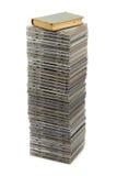 Pila de discos y del libro Foto de archivo libre de regalías