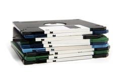 Pila de diskettes del color Fotografía de archivo