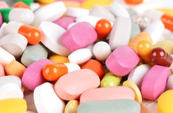 Pila de diversas píldoras Foto de archivo libre de regalías