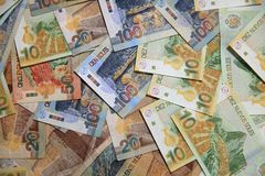 Pila de diverso Sol Banknotes peruano fotografía de archivo