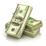 Pila de dólares del dinero Imágenes de archivo libres de regalías