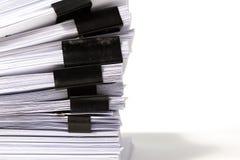 Pila de documentos comerciales aislados en blanco Fotos de archivo