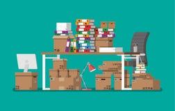 Pila de documentos de papel y de carpetas de archivos stock de ilustración