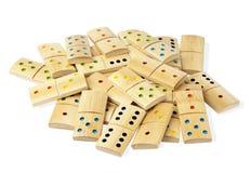 Pila de dominós aislados Fotografía de archivo