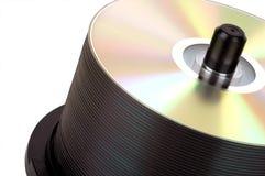 Pila de DVD en el eje de rotación Foto de archivo libre de regalías