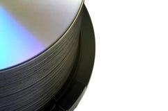 Pila de DVD en el eje de rotación Imagen de archivo libre de regalías