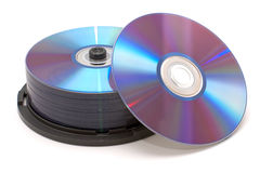 Pila de DVDs Foto de archivo libre de regalías