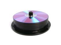 Pila de DVDs y de Cdes Fotos de archivo libres de regalías