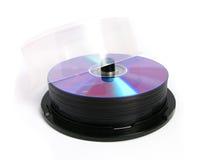 Pila de DVDs y de Cdes Imagen de archivo libre de regalías