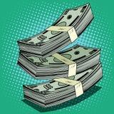 Pila de efectivo de los billetes de dólar del dinero ilustración del vector