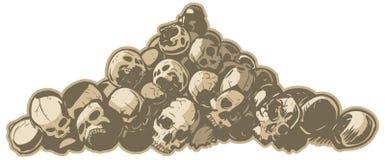 Pila de ejemplo del vector de los cráneos Imagen de archivo libre de regalías