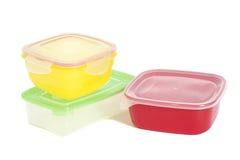 Pila de envases de plástico de la comida Imágenes de archivo libres de regalías