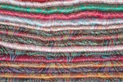 Pila de estolas de la cachemira del este Fotografía de archivo