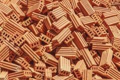 Pila de fondo de la textura de los ladrillos rojos Fotografía de archivo