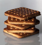 Pila de galletas cuadradas con los pedazos y de migas en fondo del gris de pizarra Fotos de archivo libres de regalías