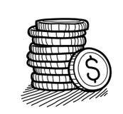 Pila de garabato de las monedas (dólar) stock de ilustración