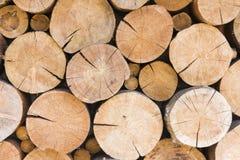 Pila de haces grandes de la madera Fotografía de archivo