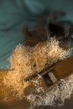 Pila de herramientas de la mano del serrín y del avión Imagen de archivo libre de regalías