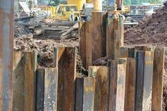 Pila de hoja de acero del muro de contención Foto de archivo libre de regalías