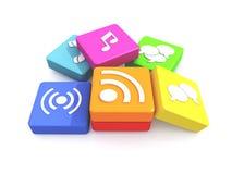 Pila de iconos de los multimedia Imagen de archivo libre de regalías