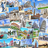 Pila de imágenes del viaje de Italia Señales famosas Imagenes de archivo