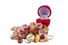 Pila de joyería del oro Foto de archivo libre de regalías