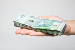 Pila de la explotación agrícola de la mano de 100 billetes de banco del zl aislados Foto de archivo