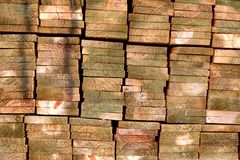 Pila de la madera tratada 1 del pino Fotos de archivo