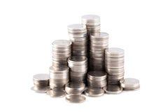 Pila de la moneda de plata Imagen de archivo