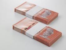 Pila de la nota de diez dólares Fotografía de archivo libre de regalías